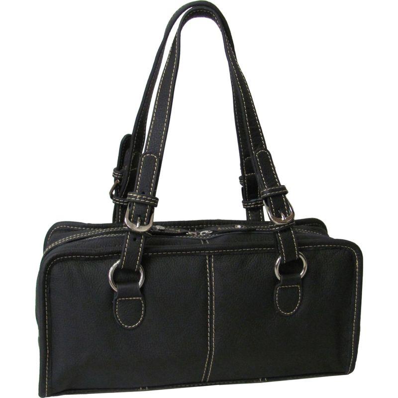 アメリ メンズ ショルダーバッグ バッグ Classy Belt Stitched Leather Satchel Black