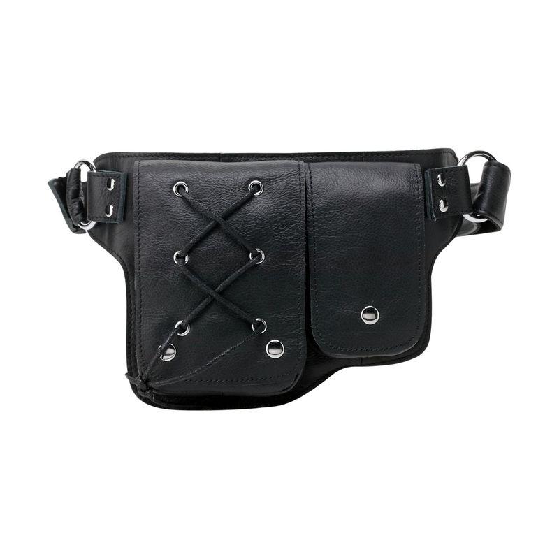 ビンセンゾレザー メンズ ボディバッグ・ウエストポーチ バッグ Yvette Leather Waist Pack Black