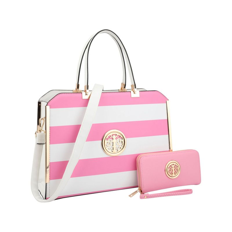 ダセイン メンズ ハンドバッグ バッグ Striped Faux Leather Briefcase Satchel with Matching Wallet Pink/White