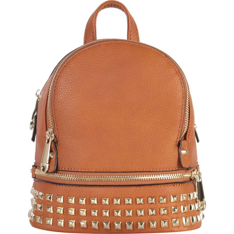 リーメンアンドコー メンズ バックパック・リュックサック バッグ Golden Studded & Zipper Decor Mini Chic Backpack Brown