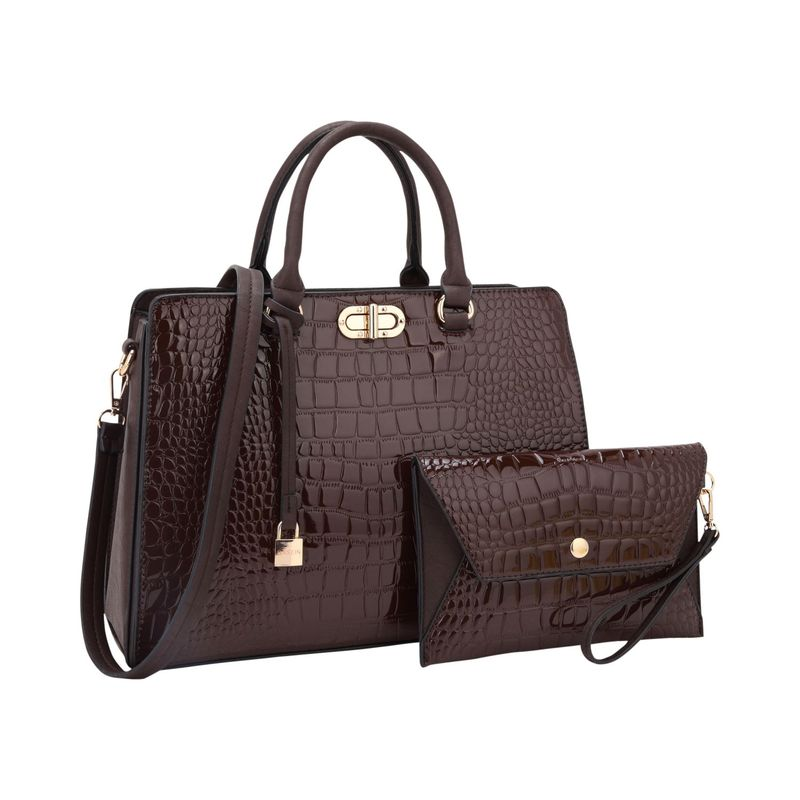 ダセイン メンズ ハンドバッグ バッグ Twist Lock Croco Satchel and Matching Wristlet Coffee