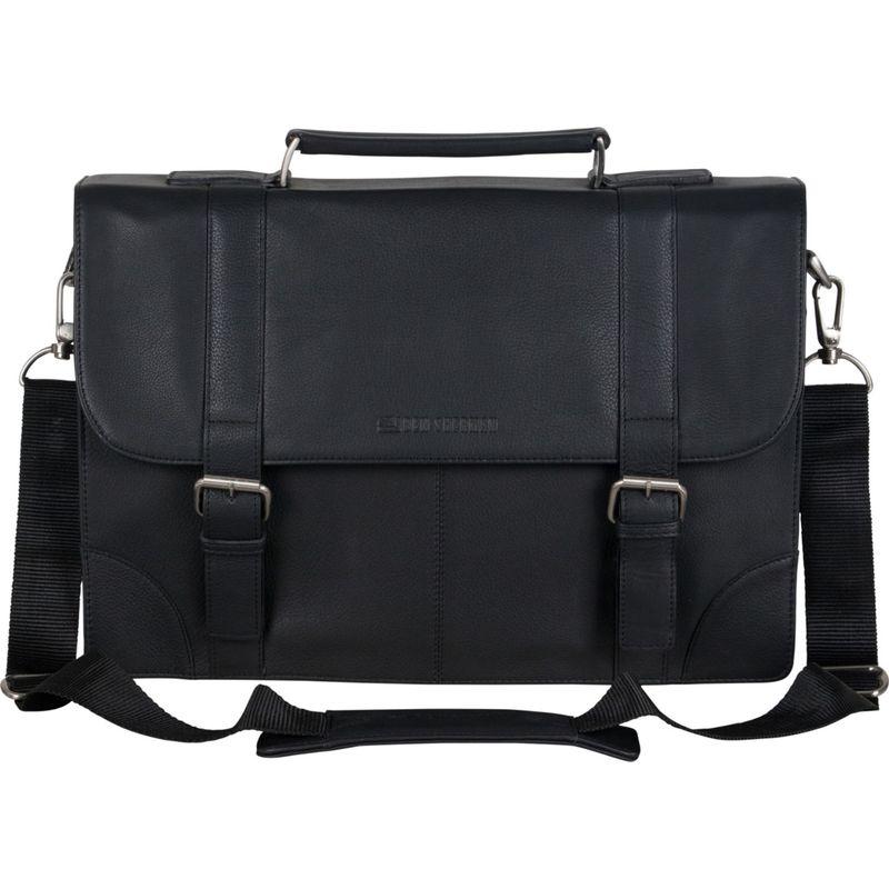 ベンシャーマン メンズ スーツケース バッグ Karino Leather Dual Compartment Flapover 15 Laptop Business Portfolio Black