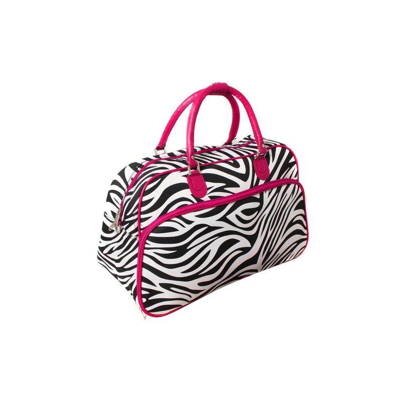 ワールドトラベラー メンズ スーツケース バッグ Zebra 21 Carry-On Duffel Bag Pink Trim Zebra