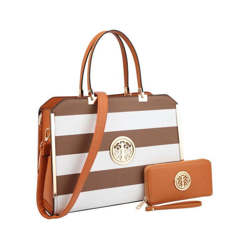 ダセイン メンズ ハンドバッグ バッグ Striped Faux Leather Briefcase Satchel with Matching Wallet Coffee/White