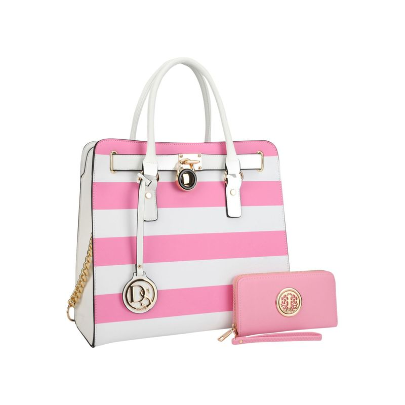 ダセイン メンズ ハンドバッグ バッグ Large Satchel with Matching Wallet Pink/White