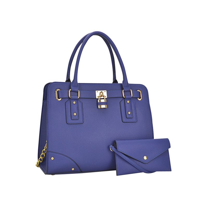 ダセイン メンズ ハンドバッグ バッグ Padlock Deco Belted Satchel with Matching Wristlet Blue