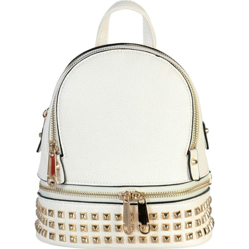 リーメンアンドコー メンズ バックパック・リュックサック バッグ Golden Studded & Zipper Decor Mini Chic Backpack White