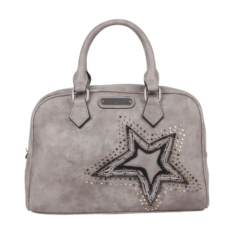 ニコルリー メンズ ショルダーバッグ バッグ Brona Glitz Star Patch Boston Bag Grey