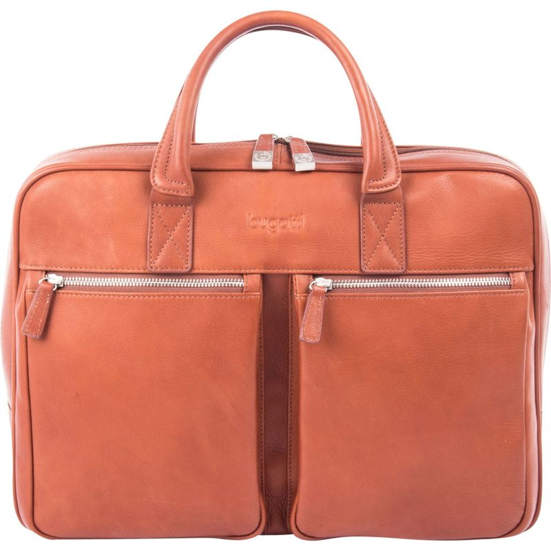 ブガッティ メンズ スーツケース バッグ Sartoria Medium Top Grain Leather Zipper Briefcase Cognac