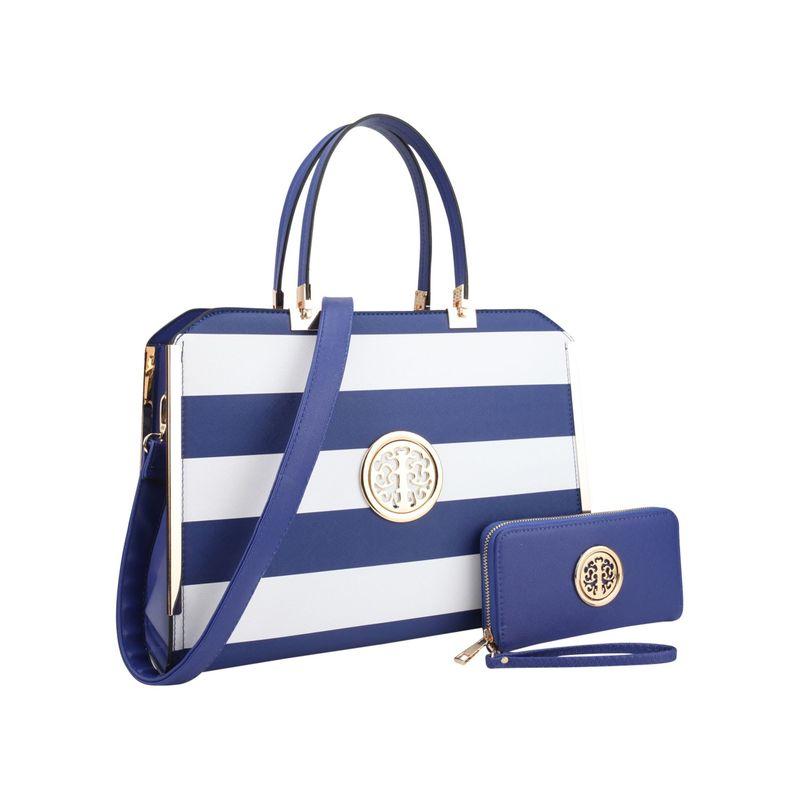 ダセイン メンズ ハンドバッグ バッグ Striped Faux Leather Briefcase Satchel with Matching Wallet Blue/White