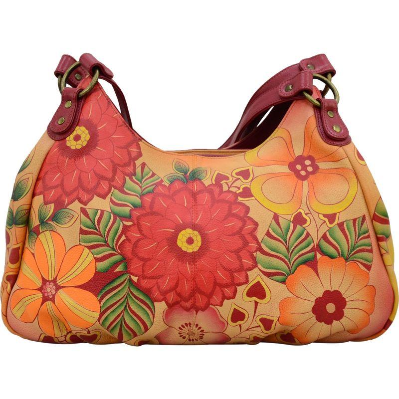 アンナバイアナシュカ メンズ ハンドバッグ バッグ Hand Painted Leather Large Ruched Hobo Summer Bloom