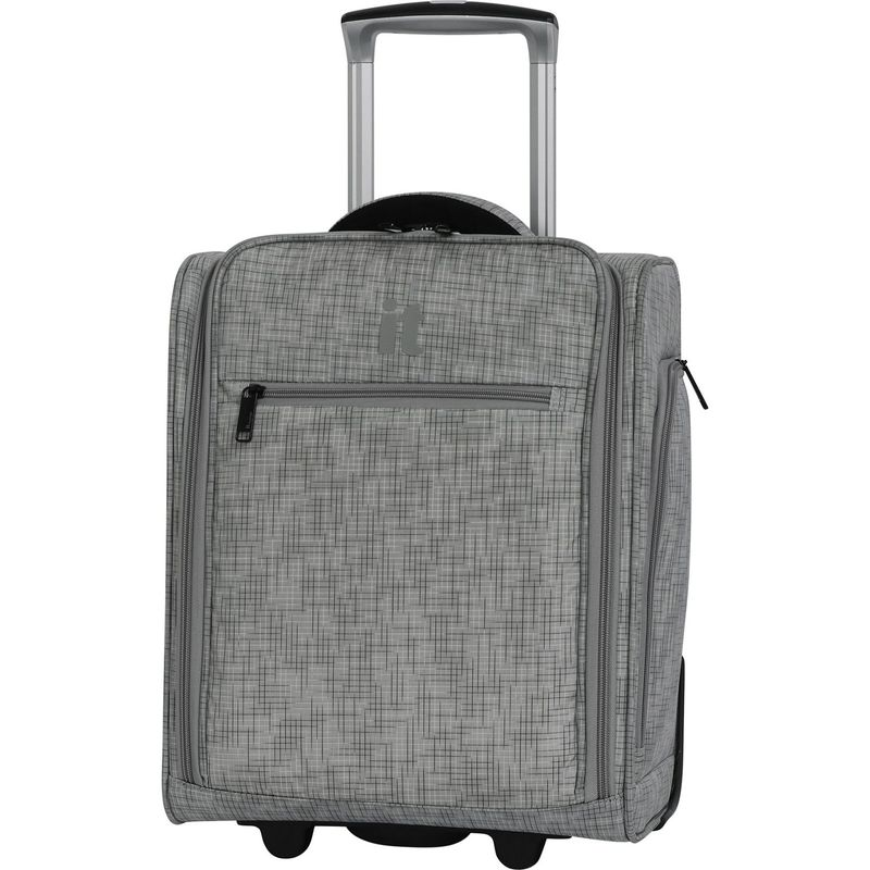アイティー メンズ スーツケース バッグ Stitched Squares 17.1 2 Wheel Lightweight Underseat Tote Flint Grey
