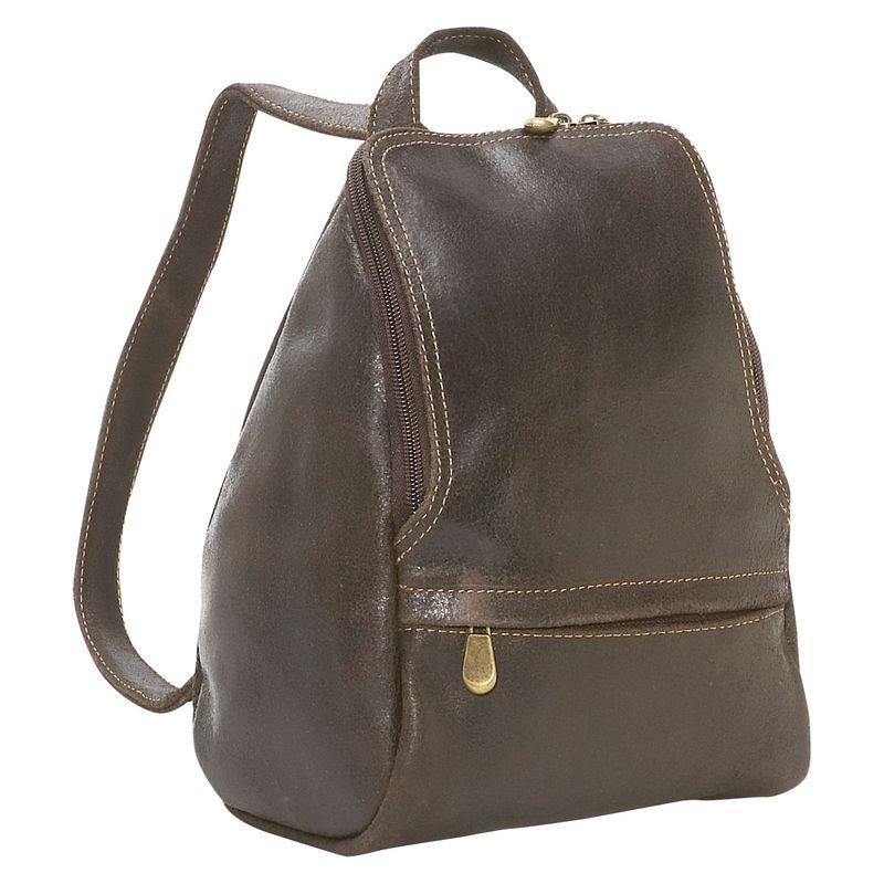 ルドネレザー レディース バックパック・リュックサック バッグ Distressed Leather U-Zip Womens Backpack Chocolate
