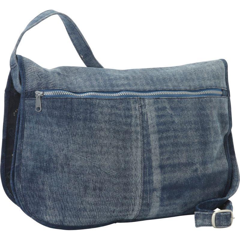 ピエール メンズ ショルダーバッグ バッグ Denim Messenger Portfolio Buckled Bag Denim Blue
