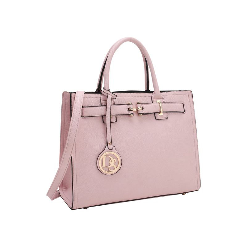 ダセイン メンズ ハンドバッグ バッグ Medium Satchel with Decorative Front Belted Gold Plated Hinge Pink