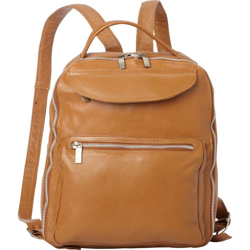 ピエール メンズ バックパック・リュックサック バッグ Front Pocket Leather Backpack Saddle