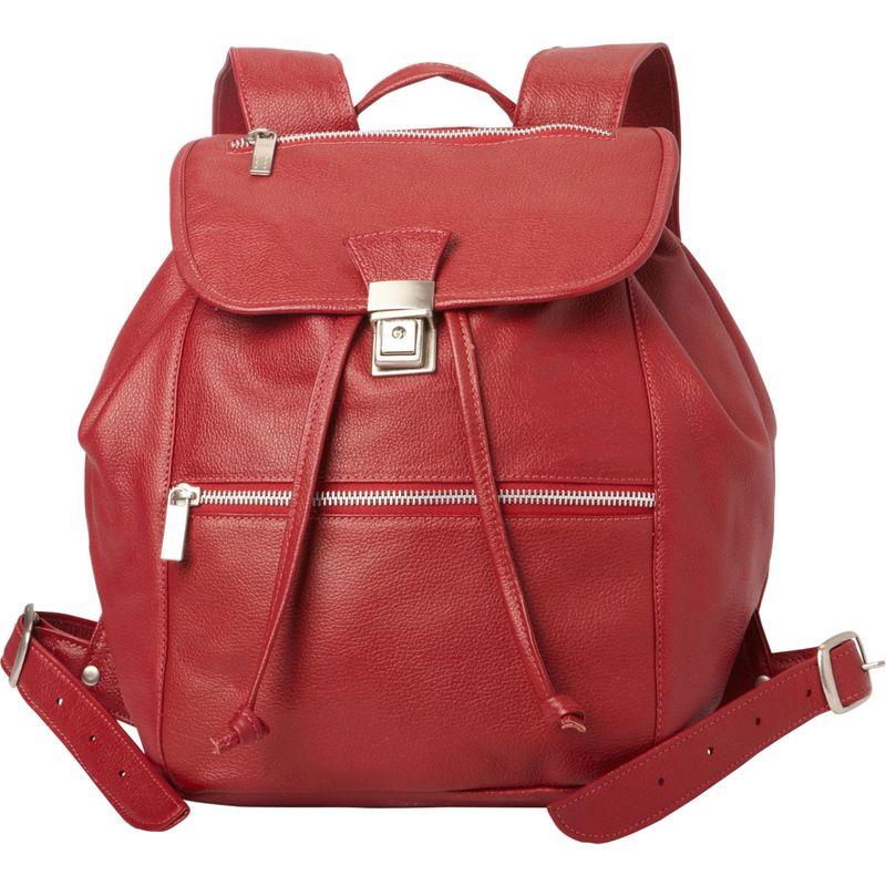 ピエール メンズ バックパック・リュックサック バッグ Double Compartment Leather Backpack Red