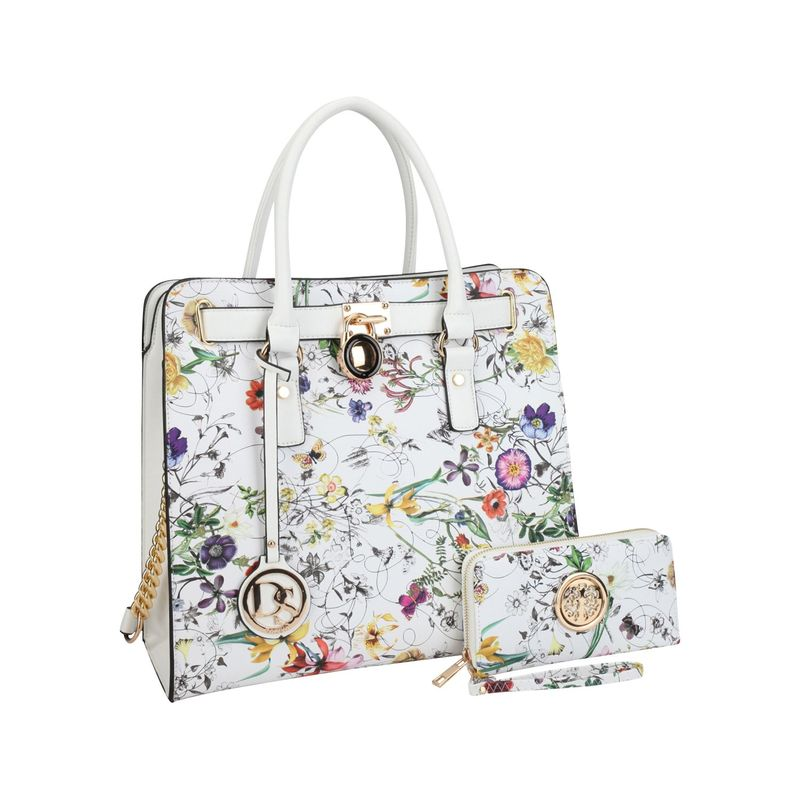 ダセイン メンズ ハンドバッグ バッグ Large Flower Print Satchel with Matching Wallet White Flower
