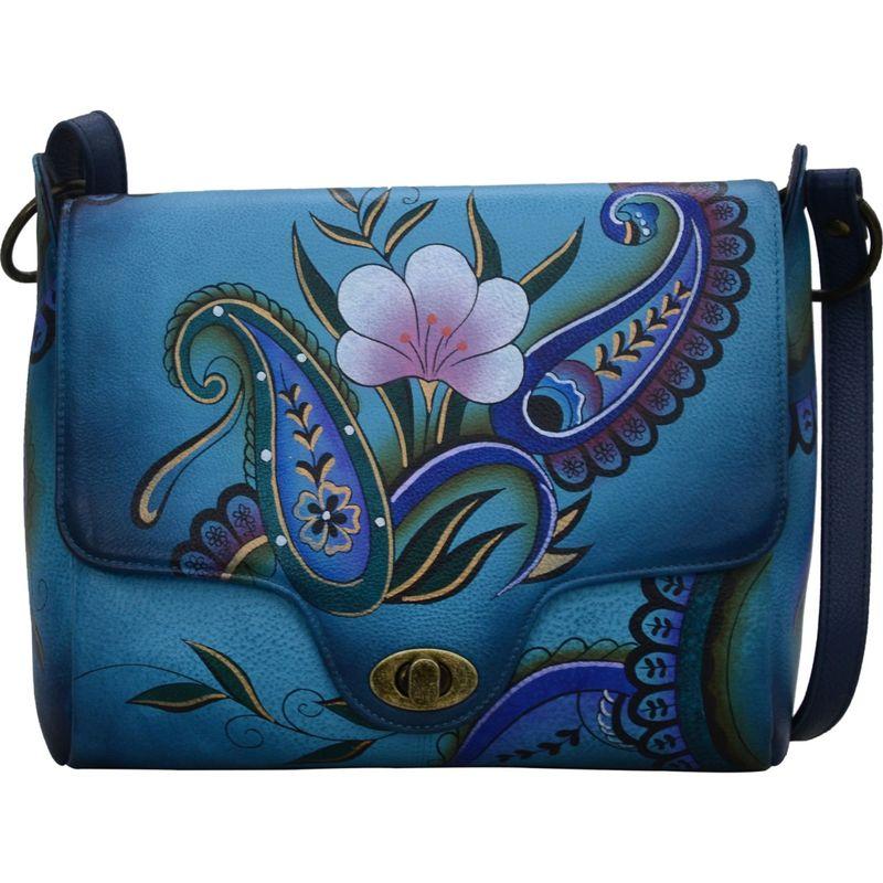 アンナバイアナシュカ メンズ ボディバッグ・ウエストポーチ バッグ Hand Painted Leather Flap Messenger Denim Paisley Floral