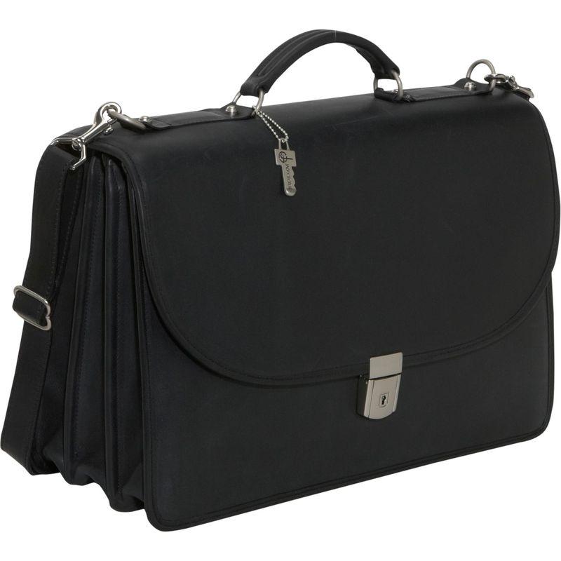ジャックジョージス メンズ スーツケース バッグ Platinum Collection Flapover Leather Laptop Briefcase Black