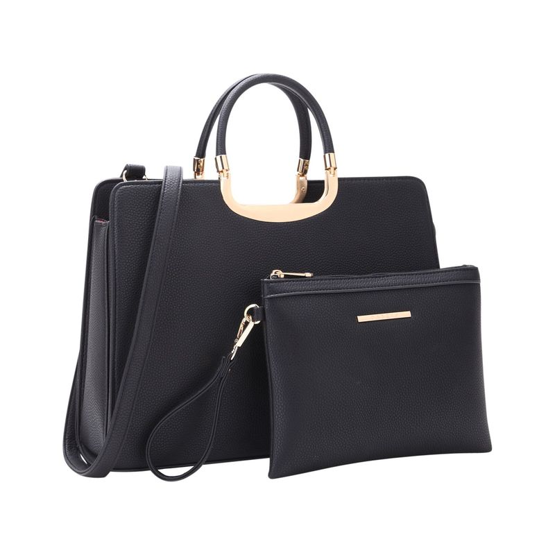 ダセイン メンズ ハンドバッグ バッグ Fashion Briefcase Satchel with Matching Accessory Pouch Black