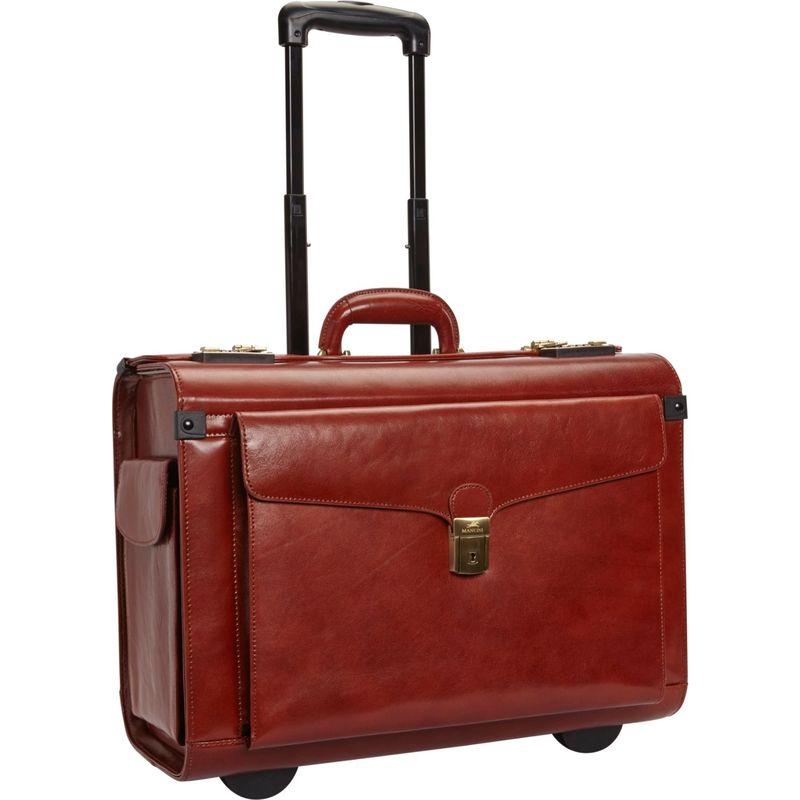 マンシニレザーグッズ メンズ スーツケース バッグ Deluxe Wheeled Catalog Case Brown
