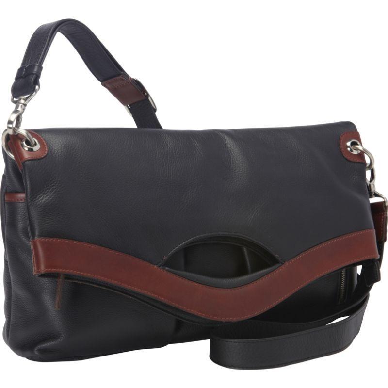 デレクアレクサンダー メンズ ショルダーバッグ バッグ EW Fold Over Top Zip Shoulder Bag  Black/Brandy