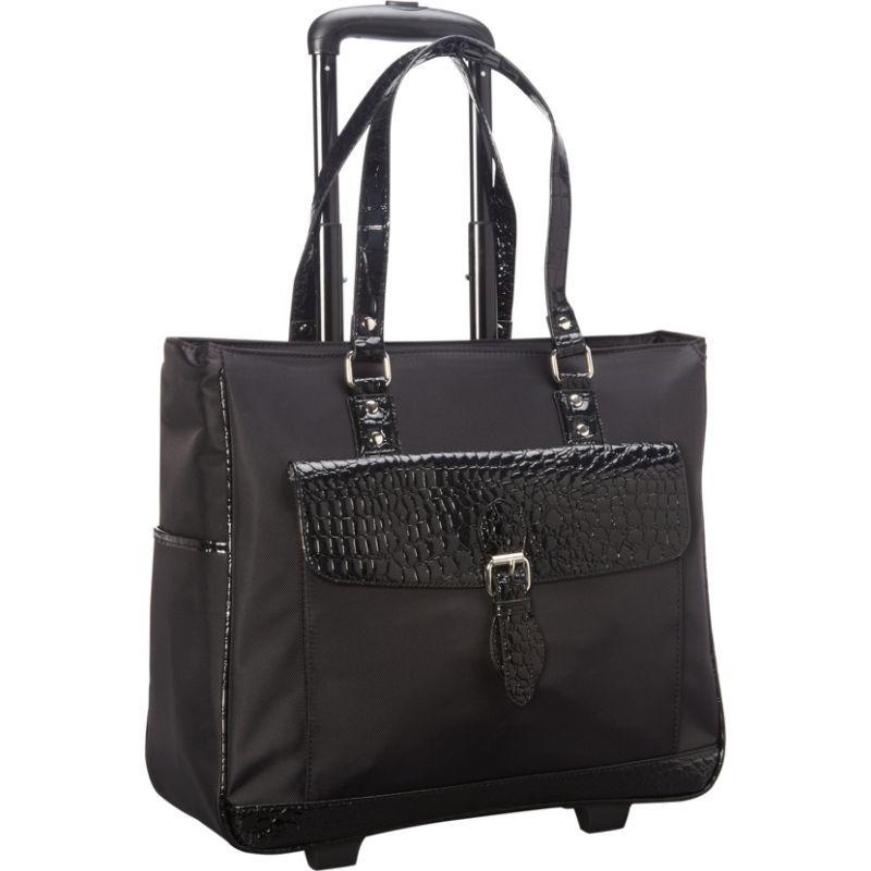 ヘリテージ メンズ スーツケース バッグ Nylon Twill & Patent Croco Rolling Laptop Tote Bag Black