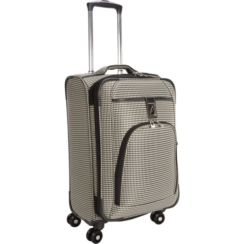 ロンドンフォグ メンズ スーツケース バッグ Cambridge 21 Expandable Spinner Carry-On Black White Houndstooth