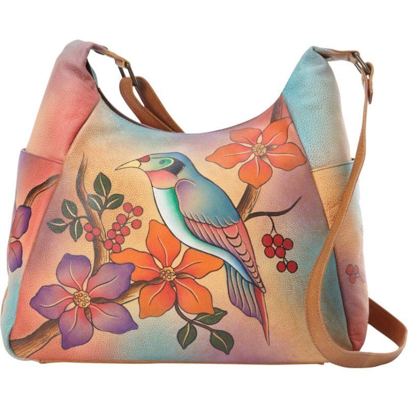 アンナバイアナシュカ メンズ ショルダーバッグ バッグ Hand Painted Large Multi Pocket Shoulder Bag Bird on Branch