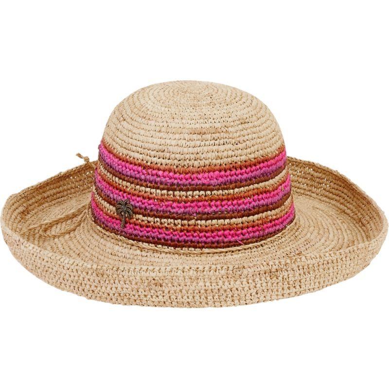 サンアンドサンド メンズ 帽子 アクセサリー Natural Raffia Finely Crocheted Fuchsia