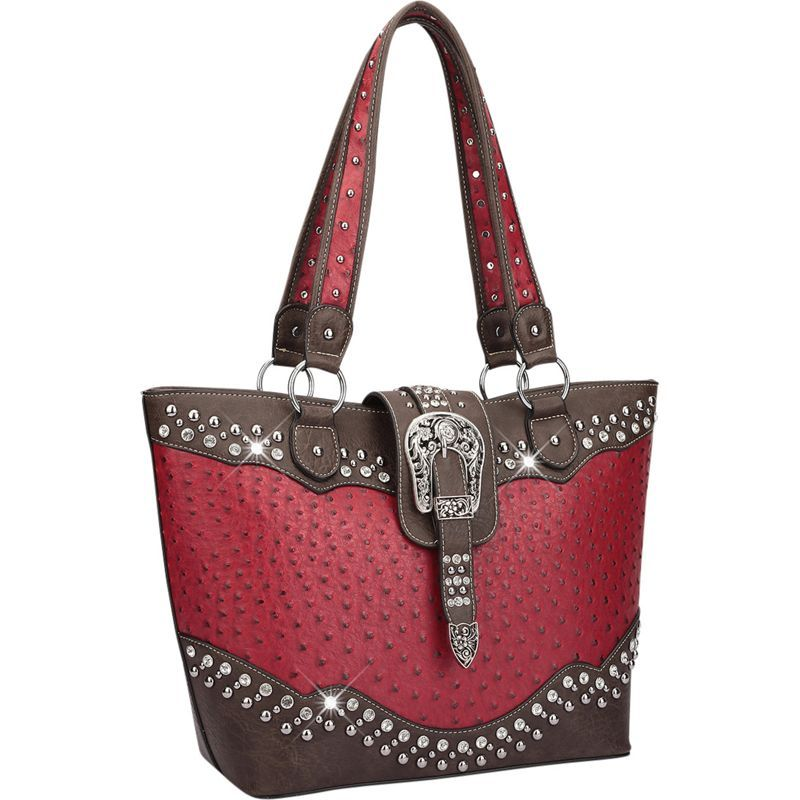 ダセイン メンズ トートバッグ バッグ Western Style Ostrich Rhinestone Buckle Tote Red