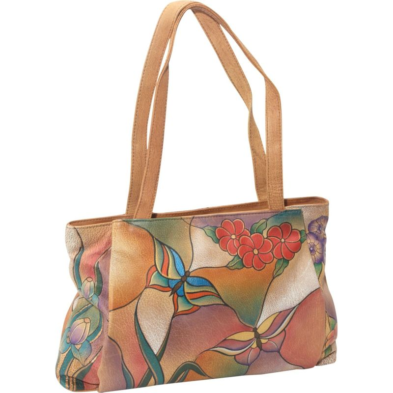 アンナバイアナシュカ メンズ トートバッグ バッグ ANNA by Anuschka Large Shopper - Floral Butterfly Butterfly Glass Painting