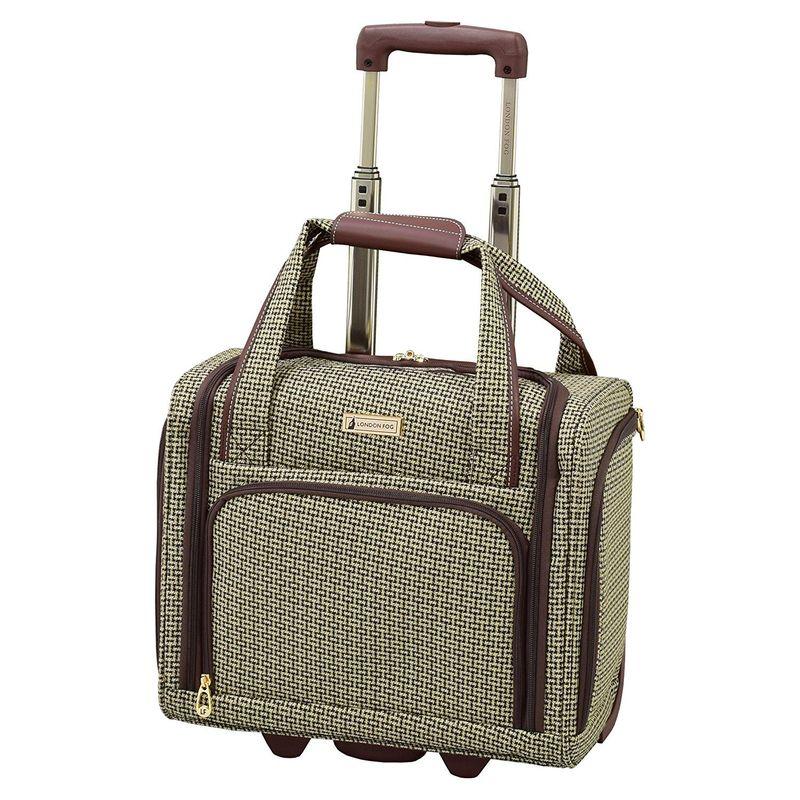 ロンドンフォグ メンズ スーツケース バッグ Softside 15 Under The Seat Bag Tan Square Jacquard