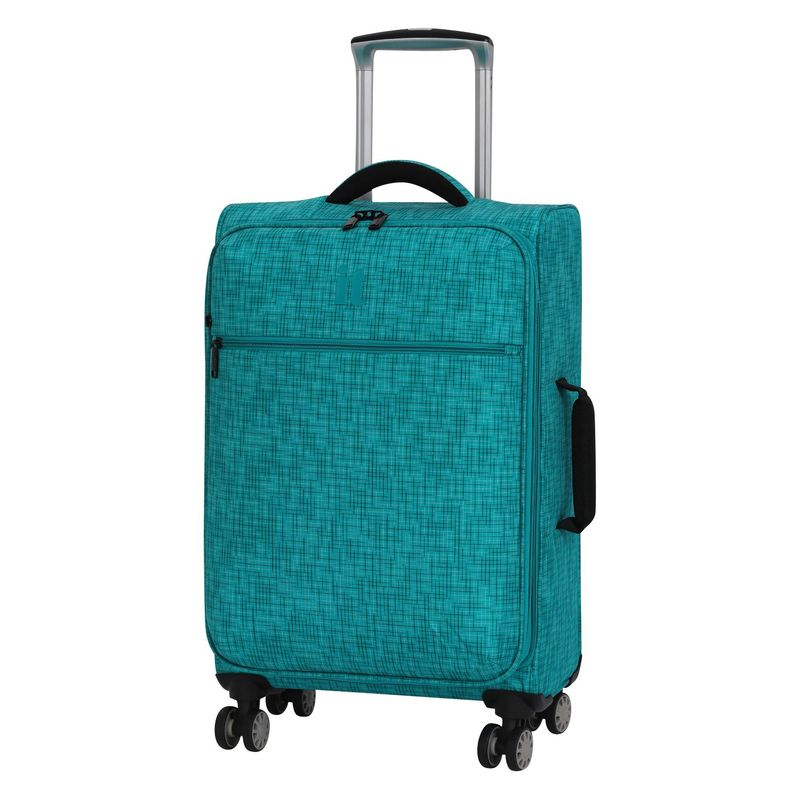 アイティー メンズ スーツケース バッグ Stitched Squares 21.5 Expandable Lightweight Spinner Carry-On Aqua Blue