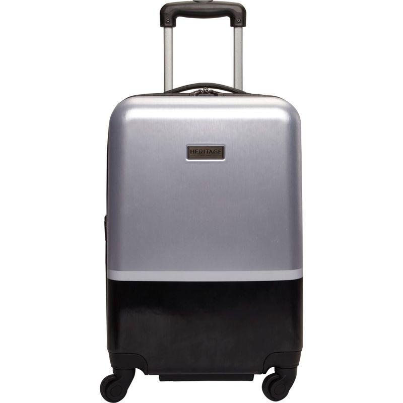 ヘリテージ メンズ スーツケース バッグ Charter Park 20 Expandable Hardside Spinner Carry-On - eBags Exclusive Light Silver W/ Black Color Block
