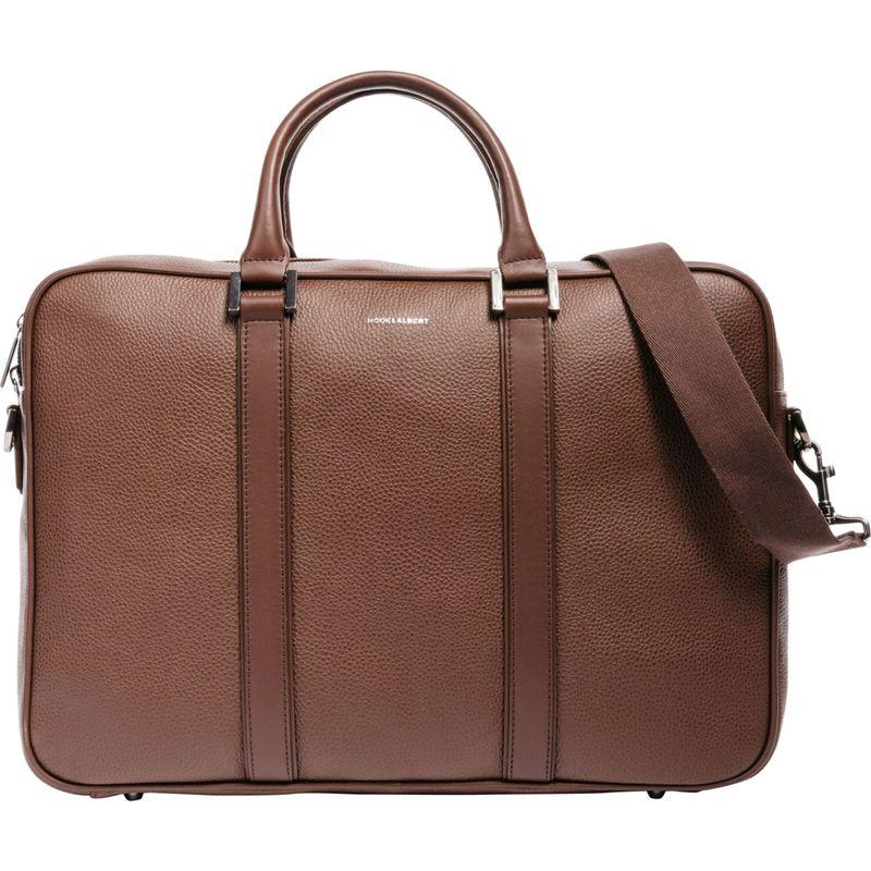 フック&アルバート メンズ スーツケース バッグ Leather Structured Briefcase Brown