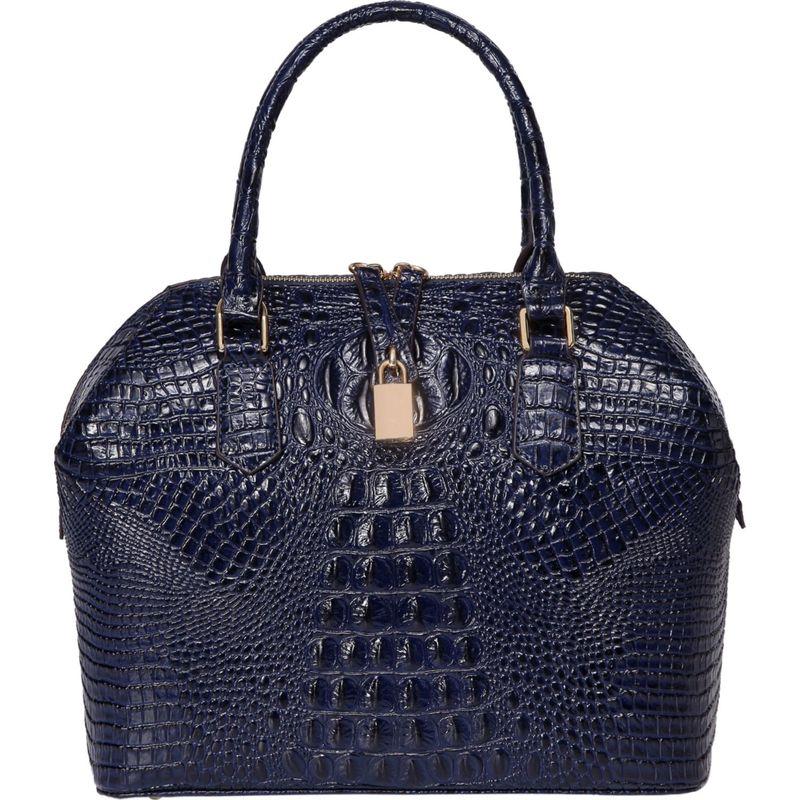 ビンセンゾレザー メンズ トートバッグ バッグ Diane Croc Embossed Top Handle Leather Tote Blue
