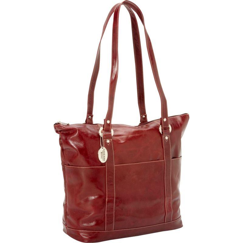 デビッドキング メンズ トートバッグ バッグ Large Florentine 6 Pocket Shopper Cherry