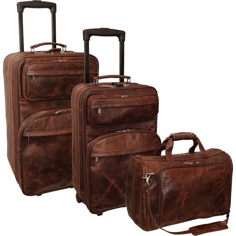 アメリ メンズ スーツケース バッグ Leather Three Piece Set Traveler Brown Python