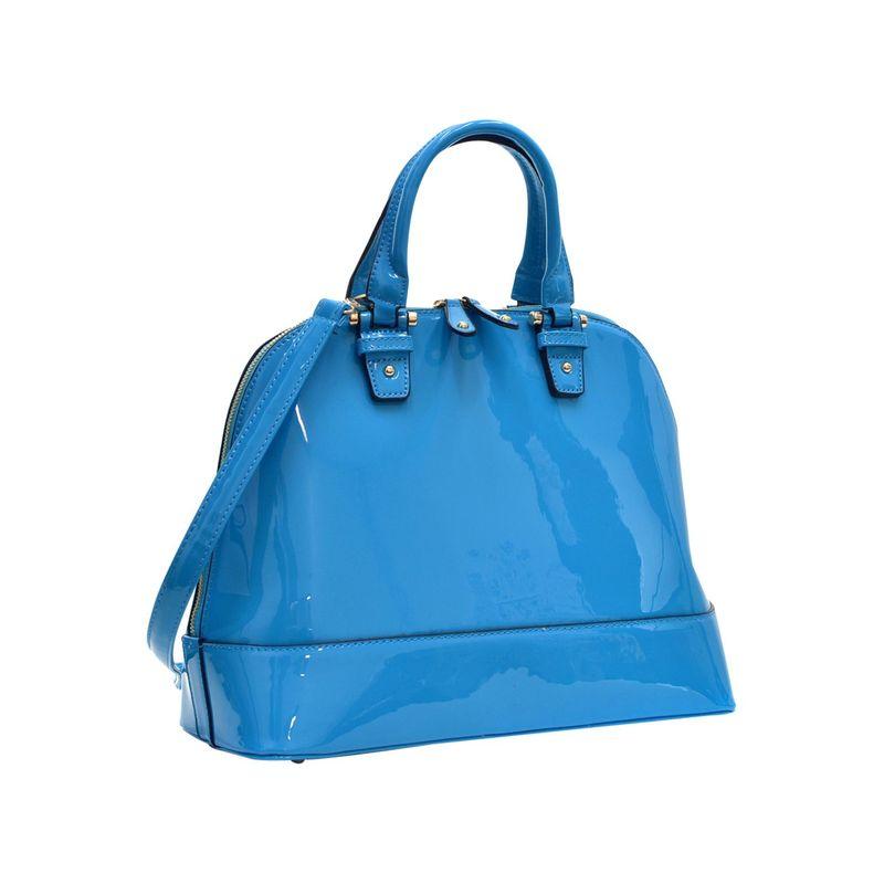 ダセイン メンズ ハンドバッグ バッグ Patent Zip-Around Flat Bottom Fashion Satchel Blue