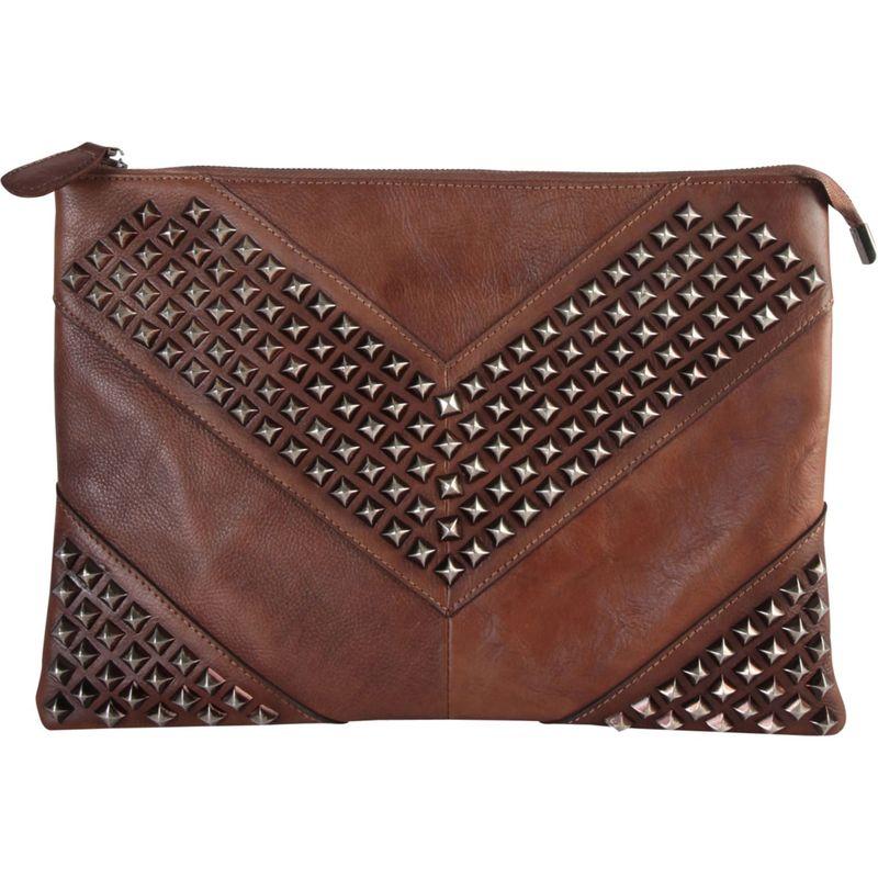 ディオフィ メンズ セカンドバッグ・クラッチバッグ バッグ Vintage Studded Large Clutch Brown