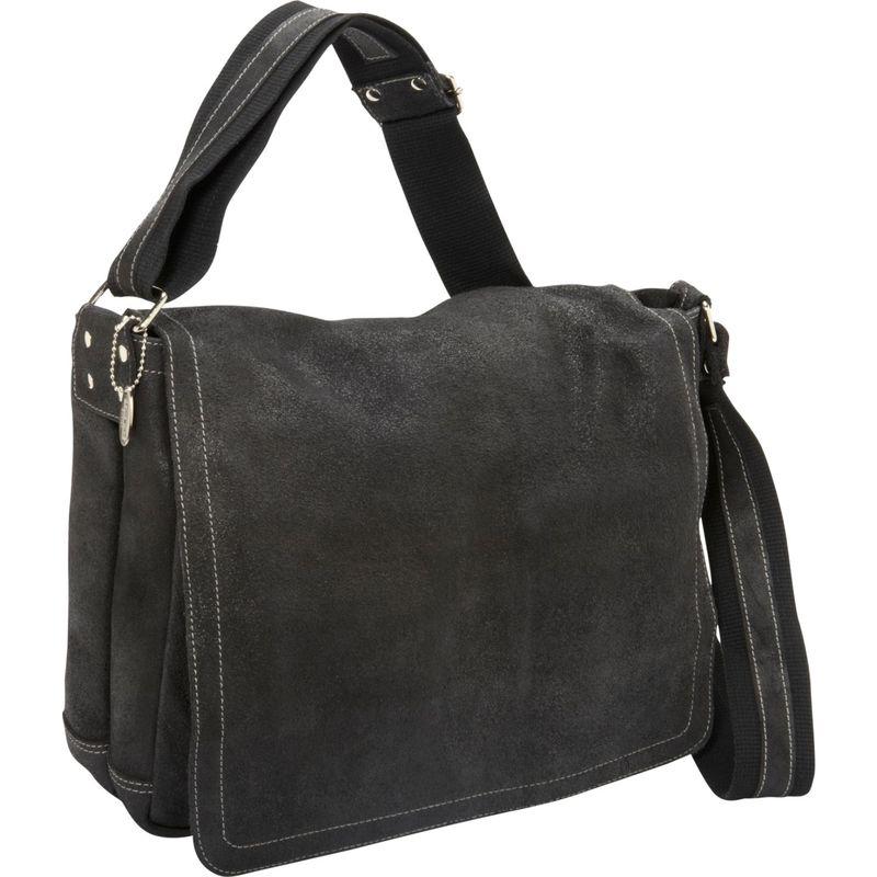 デビッドキング メンズ スーツケース バッグ Distressed Leather Full Flap Laptop Messenger - M Black