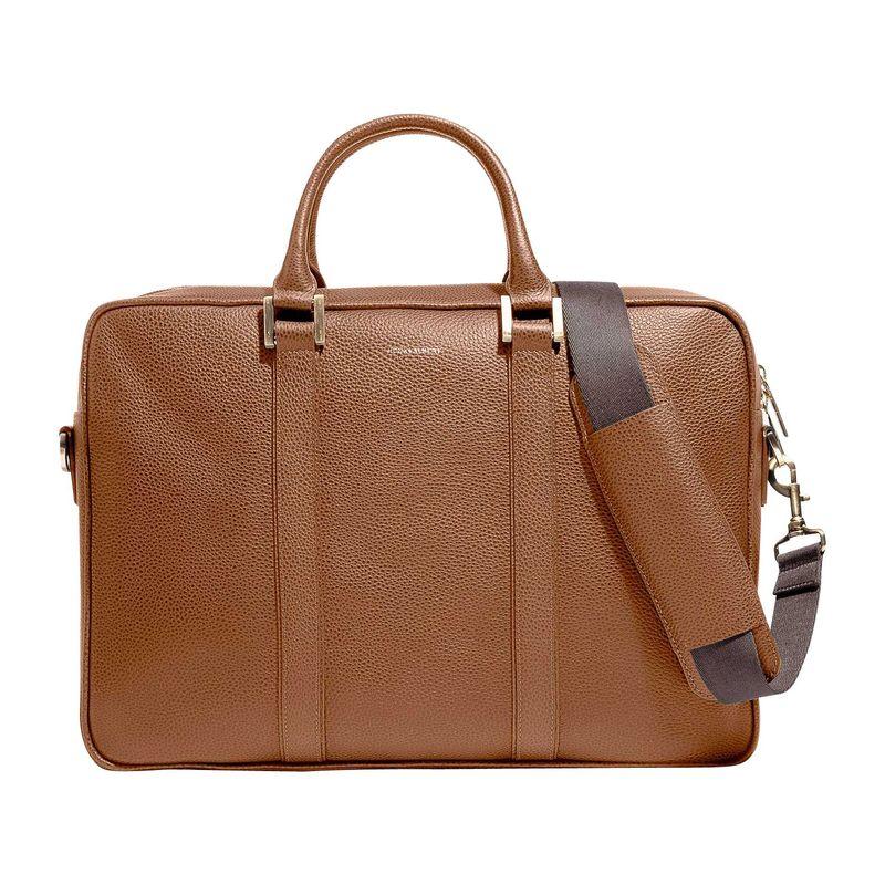フック&アルバート メンズ スーツケース バッグ Leather Structured Briefcase Camel