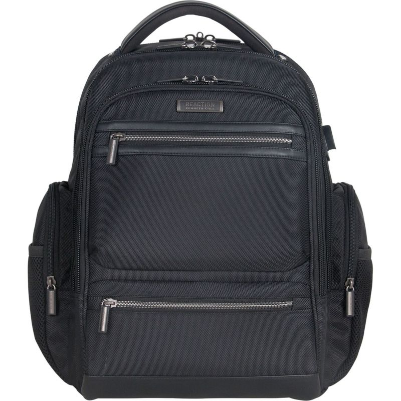 ケネスコール メンズ スーツケース バッグ Triple Compartment 17 Laptop Business Backpack with USB Charging Port and Anti-Theft RFID Black With Hematite Zippers