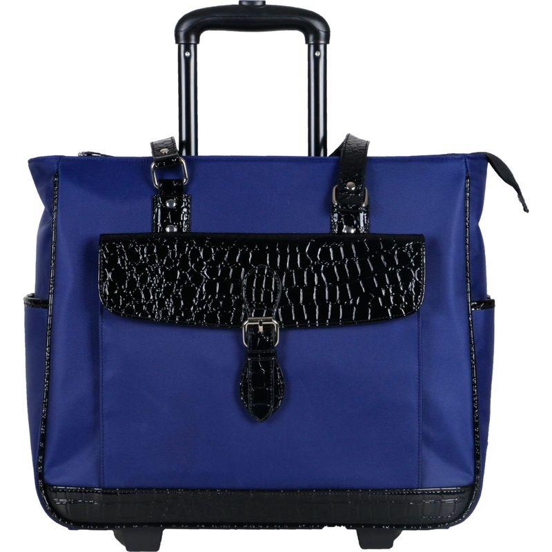 ヘリテージ メンズ スーツケース バッグ Nylon Twill & Patent Croco Rolling Laptop Tote Bag Navy
