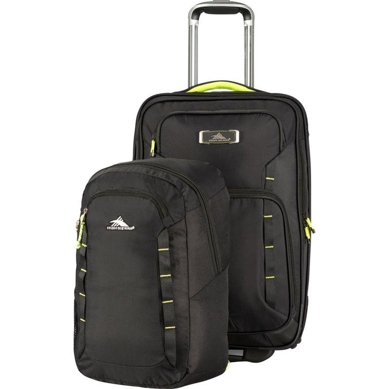 ハイシエラ メンズ スーツケース バッグ AT8 Wheeled Carry-On with Pack-n-Go Backpack Black/Zest