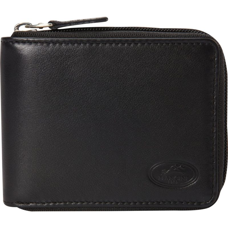 マンシニレザーグッズ メンズ 財布 アクセサリー Manchester Collection: Mens Zippered RFID Wallet Black