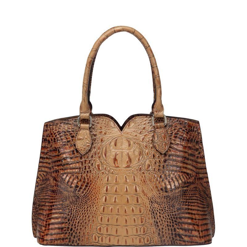 ビンセンゾレザー メンズ トートバッグ バッグ Maya Croc Embossed Leather Tote Handbag Light Brown