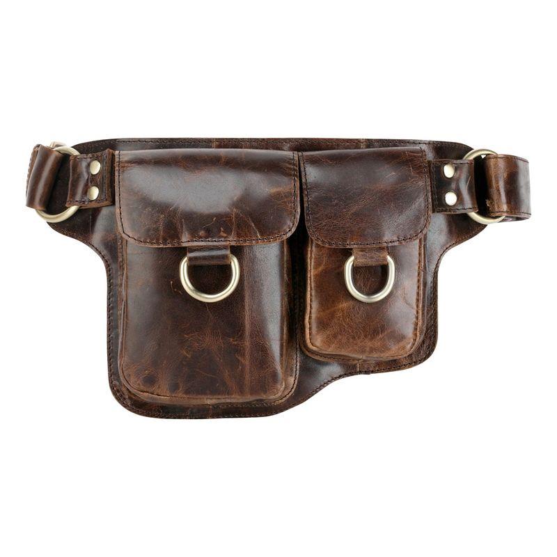 ビンセンゾレザー メンズ ボディバッグ・ウエストポーチ バッグ Adonis 2 Leather Waist Pack Hip Purse X-Brown